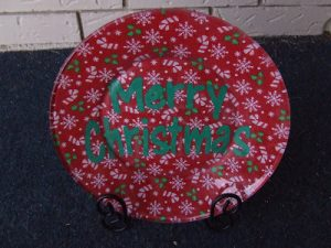 Glass Plate Covered with Christmas Fabric