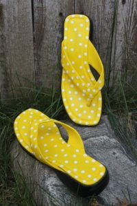 Yellow painted sandals