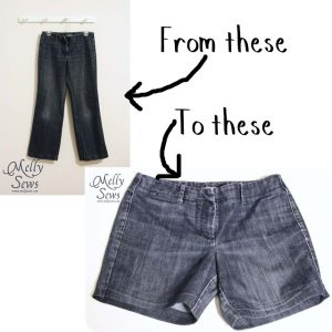 Jeans turn into shorts {Melly Sews}