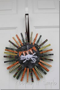 Clothes Pins Halloween Wreath