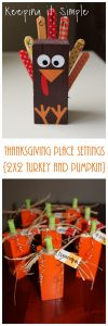 Thanksgiving Place Settings- 2×2 Wood Turkey and Pumpkin