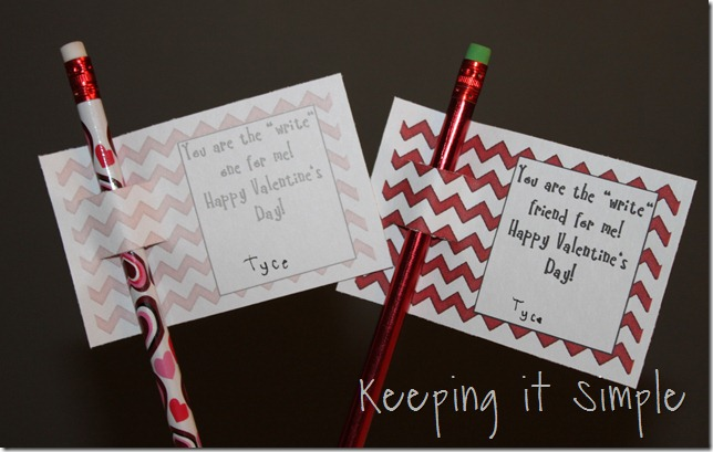easy no candy valentine valentine pencils with free printable keeping it simple. Black Bedroom Furniture Sets. Home Design Ideas