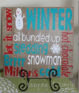 Winter Decor Ideas using Vinyl: Plate, tile and snowflake decals