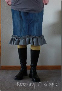 Jeans into Skirt Refashion