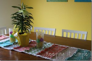 Spring Table Runner and Lily Centerpiece