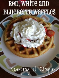 Red, white and blueberry waffles