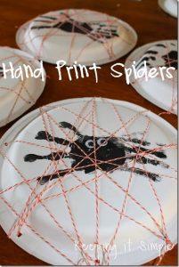 Hand Print Spiders {Kids Craft}