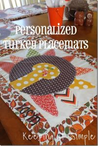 Personalized Turkey Placemats #TurkeyTableScapes