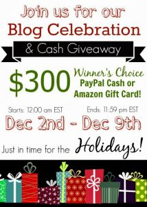 $300 Cash or Amazon gift card GIVEAWAY