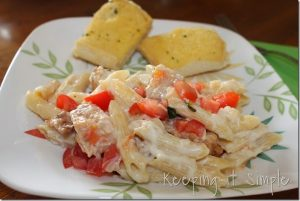Dinner Ideas with Chicken: 3 Cheese Penne Chicken Pasta #SummerofGiving