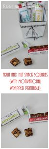 Fruit and Nut Snack Squares with Motivational Wrapper Printable