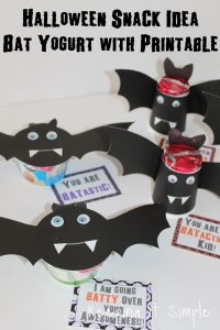 Wholesome Halloween Snack Idea- Bat Yogurt with Printable