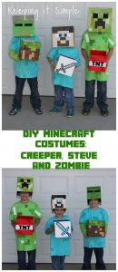 DIY Minecraft Costumes- Creeper, Steve and Zombie Costume