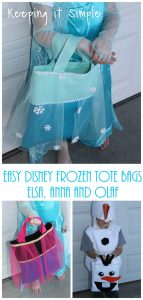 Easy Disney Frozen Tote Bags- Elsa, Anna and Olaf. Perfect for Treat or Trick Bags
