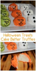 Halloween Treat Idea- No Bake Cake Batter Truffles