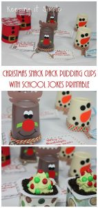 Fun Christmas Treat- Christmas Snack Pack Pudding Cups with School Jokes Printable