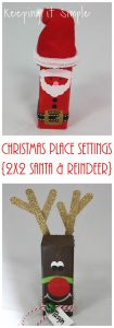 Christmas Place Settings- 2×2 Wood Santa and Reindeer