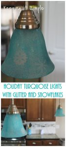Holiday Turquoise Lights with Glitter and Snowflakes