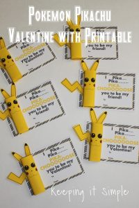 Boys Homemade Valentine- Pokemon Pikachu Valentines with Printable