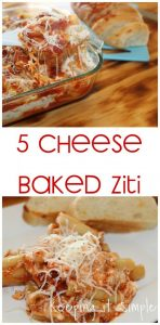 5 Cheese Baked Ziti Pasta Recipe with Homestyle Sauce