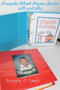 Keepsake School Papers Binder with Printable