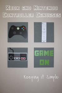 Boys' Game Room Bedroom Decor: Xbox and Nintendo Controller Canvases
