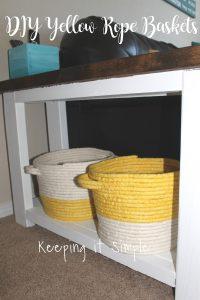 DIY No Sew Yellow Rope Baskets