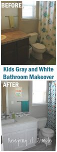 Kids Gray and White Bathroom Makeover