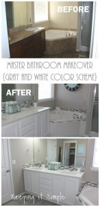Master Bathroom Makeover with Gray and White Color Scheme
