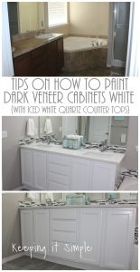 Tips on How to Paint Dark Veneer Cabinets White {with Iced White Quartz Counter Tops}