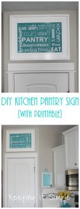 DIY Kitchen Pantry Sign with Subway Art Printable