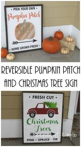 Reversible Pumpkin Patch and Christmas Tree Sign