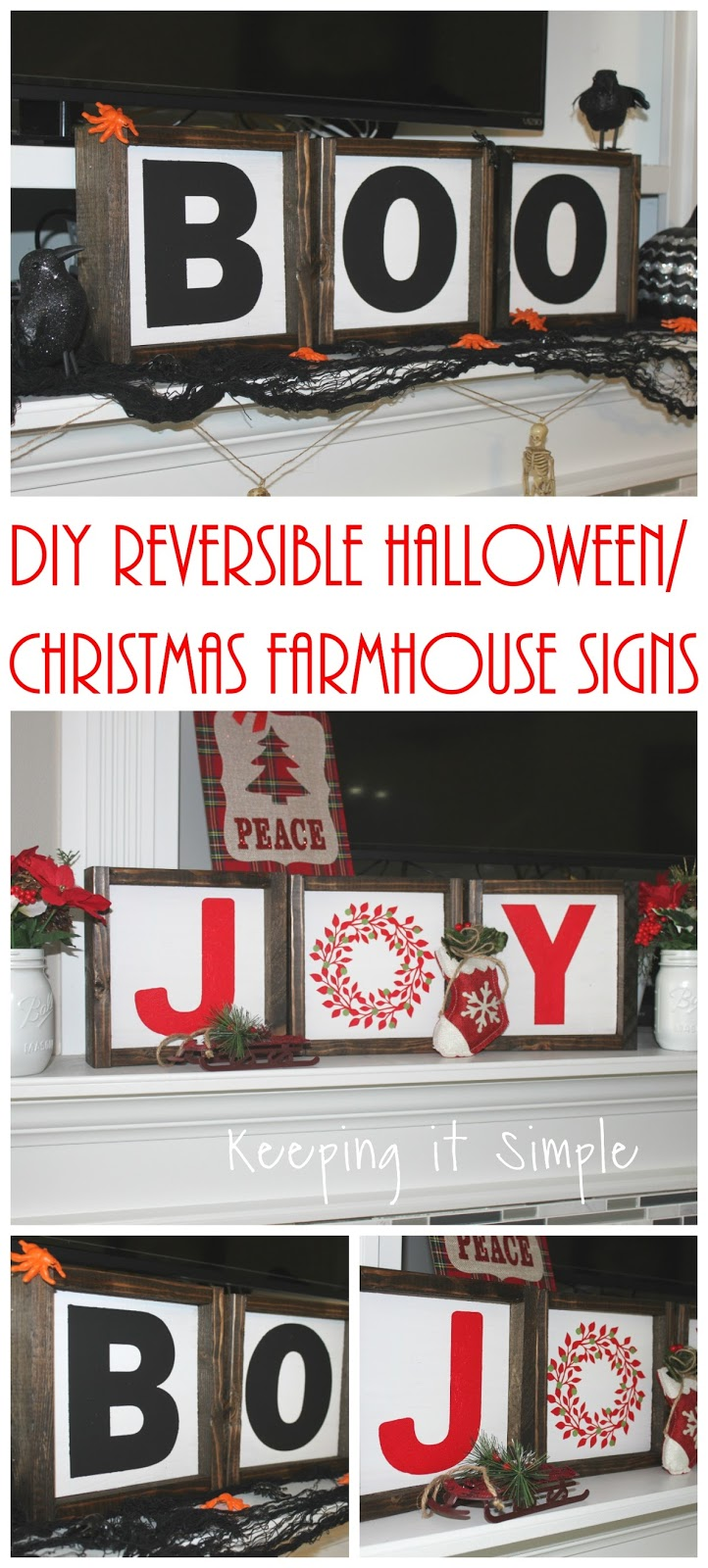 DIY Reversible Halloween/Christmas Farmhouse Signs • Keeping it Simple