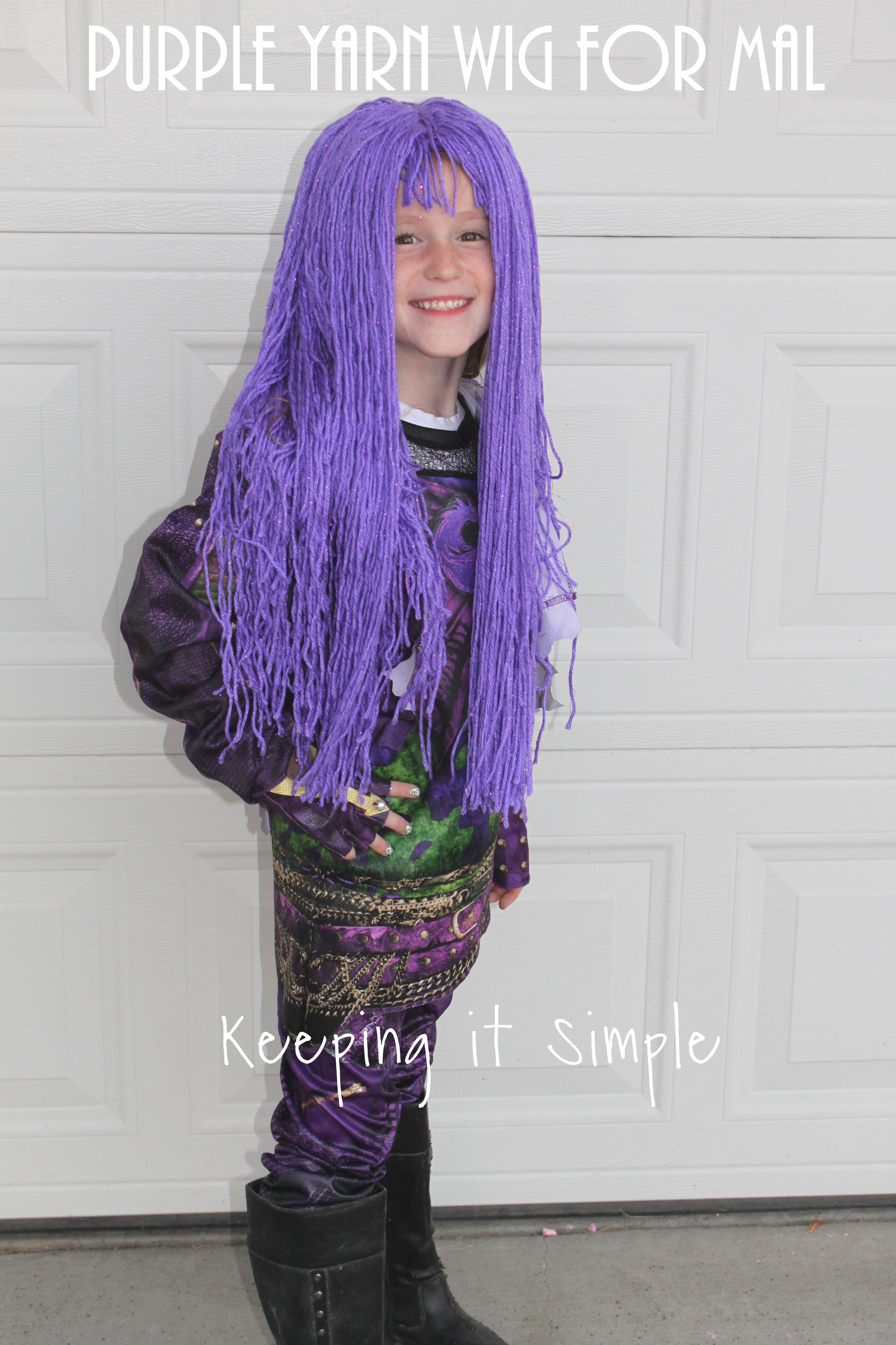 purple yarn wig for mal from descendants 2 costume