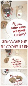 Best Christmas Neighbor Gift – Santa Cookies Plate with Cookies in a Jar