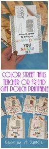 Color Street Nails Teacher or Friend Gift Pouch Printable
