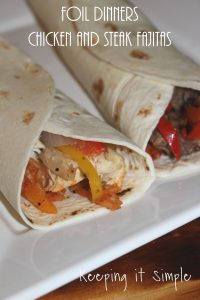 Foil Dinners- Chicken and Steak Fajitas using ExtremeStart Firestarter