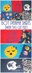 Boy Pajamas Shirts- Mario, Emoji and Football {Cut Files}