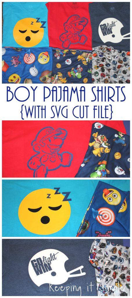 Boy Pajamas Shirts- Mario, Emoji and Football {Cut Files