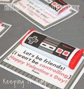Homemade Valentine- Nintendo Controller Valentine with Printable