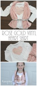 Rose Gold Vinyl Heart Shirt with Free SVG Cut File