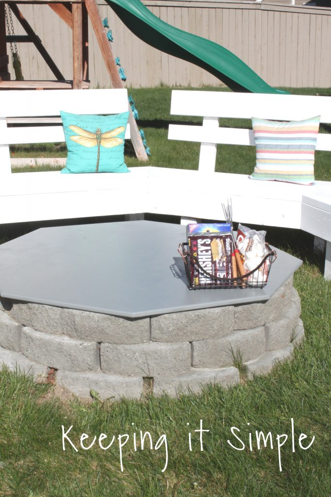 Backyard Ideas- DIY Fire Pit Cover • Keeping it Simple