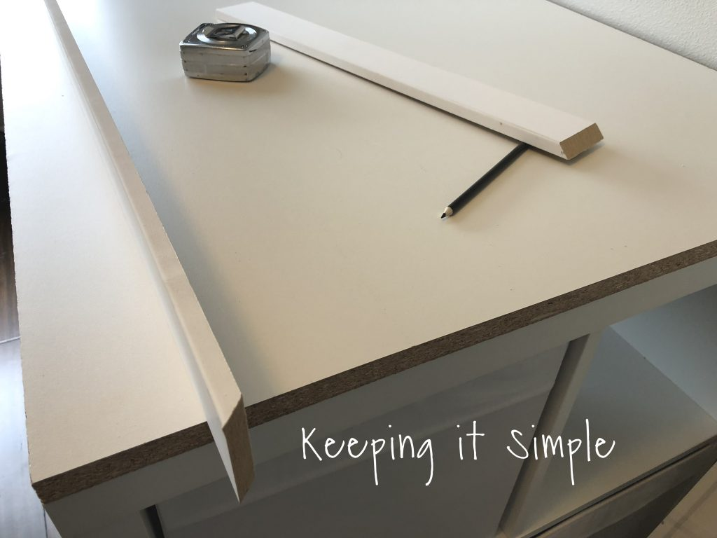 Using A Nail And Finishing Nails We Used 1 2 Then Nailed The Trim Onto Top Of Desk Only Did Three Sides Didn T Do