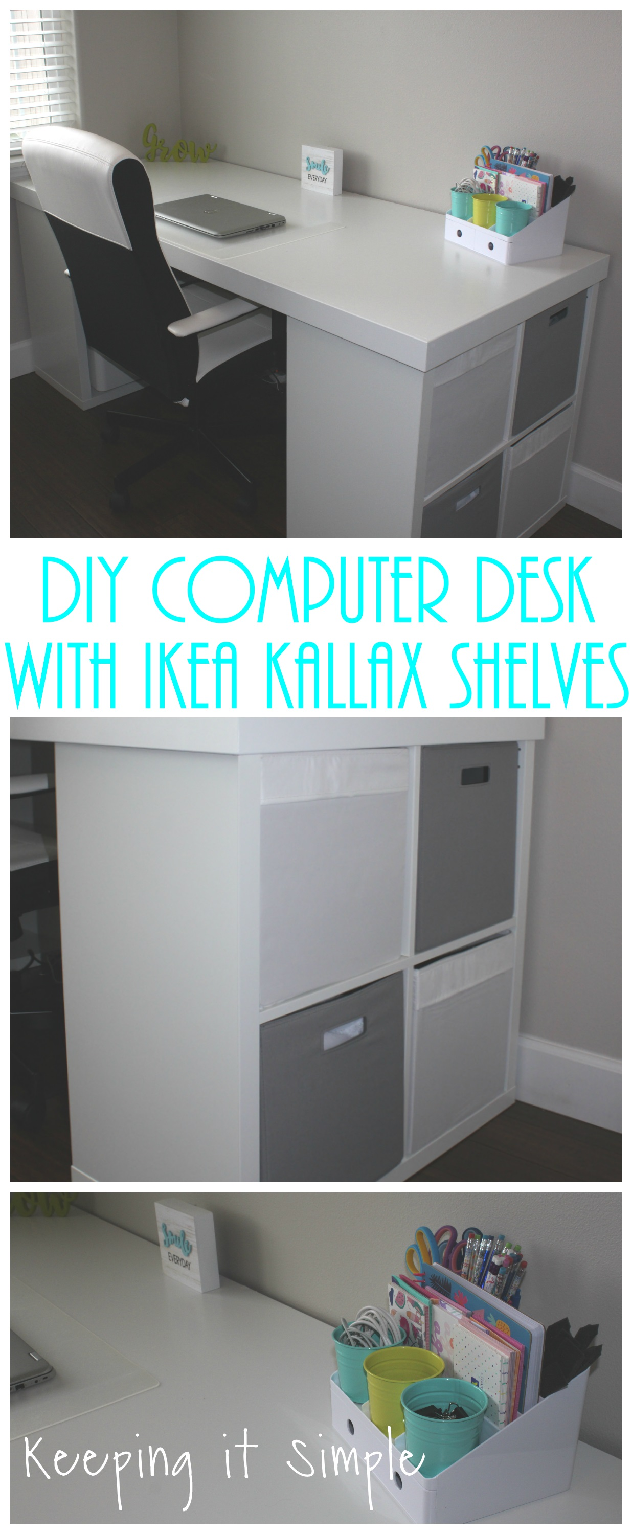Ikea Hack Diy Computer Desk With Kallax Shelves Keeping It Simple