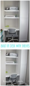 Built In Desk with Shelves for Craft Room or Office