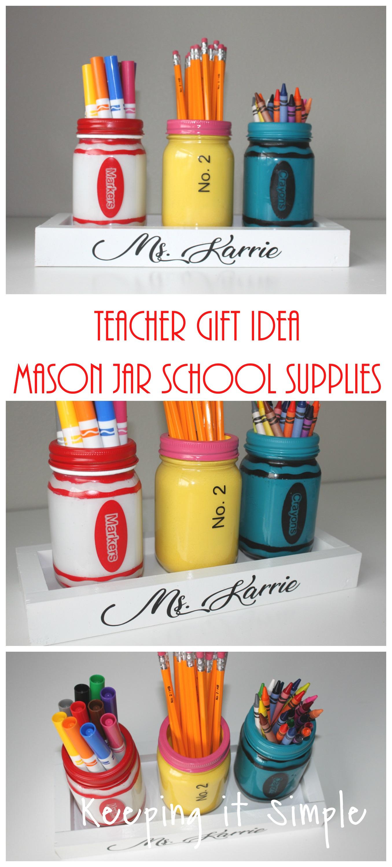 Teacher gift ideas painted mason jar school supplies holder teacher gift ideas painted mason jar school supplies holder keeping it simple negle Gallery