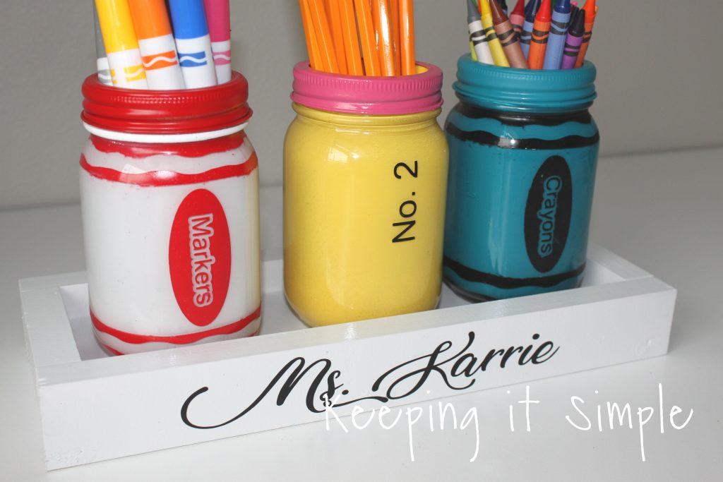 Teacher Gift Ideas- Painted Mason Jar School Supplies Holder