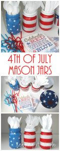 4th of July Mason Jars Utensil Holder