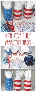 4th of July Mason Jars Utensil Holder