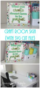 Craft Room Sign with Patterned Vinyl {Free SVG File}
